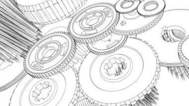 Engrenagens girando (Blueprint Sketch animação) — Vídeo stock