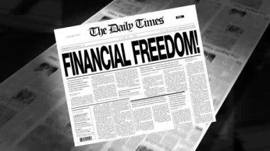 Financial Freedom - Newspaper Headline (Intro + Loops) — Stock Video