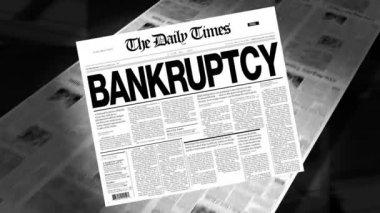 Bankruptcy - Newspaper Headline (Intro + Loops) — Stock Video