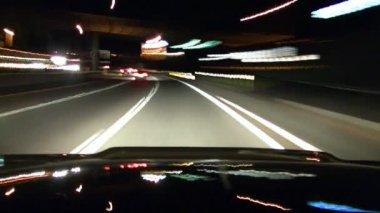 Freeway Drive Night Timelapse — Stock Video