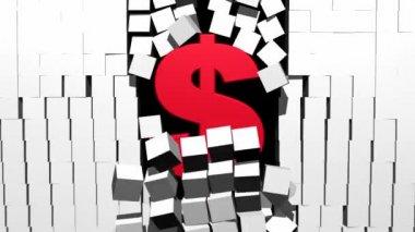 Dollar Breaking Through Block Wall — Stock Video