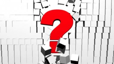 Question Mark Breaking Through Block Wall — Stock Video