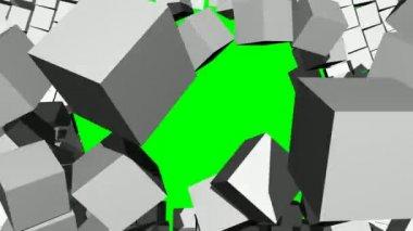 Exploding Through 3D Block Wall — Stock Video