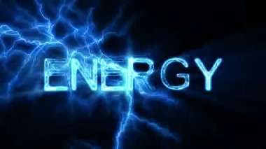 ENERGY Word Text Animation with Electrical Lightning — Stock Video