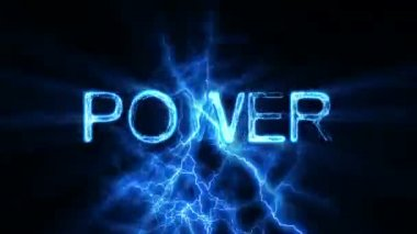 POWER Word Text Animation with Electrical Lightning — Stock Video