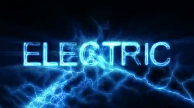 Electric Word Text Animation with Electrical Lightning — Stock Video