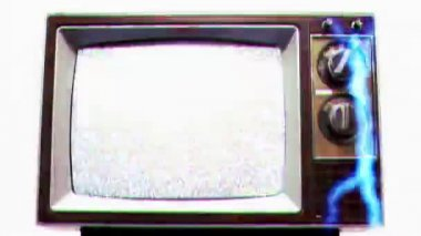 Television Static Electrical Shock Overload — Stock Video