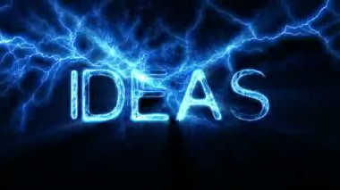 IDEAS Word Text Animation with Electrical Lightning — Stock Video