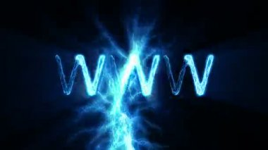 WWW Word Text Animation with Electrical Lightning — Stock Video