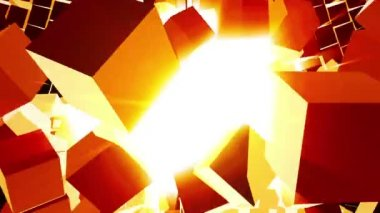Exploding Block Wall (Bright Light Rays) — Stock Video
