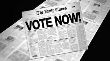 Vote Now! - Newspaper Headline (Reveal + Loops) — Stock Video