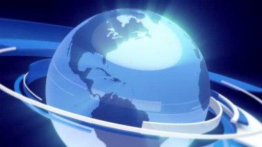 Earth Globe Animation (3D Blue Glass World) — Stock Video