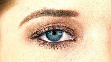 Close-up Macro Shot of Female Human Eye Blinking — Stock Video