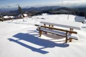 Snow capped table  — Stock Photo
