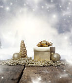 Christmas ornaments and winter landscape — Stock Photo
