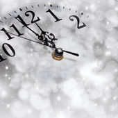 New Year's at midnight - old clock in snow  — Foto de Stock