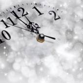 New Year's at midnight - old clock in snow  — Stockfoto