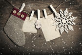 Vintage Christmas decorations and cards hanging on clotheslines — Stok fotoğraf