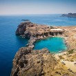Looking down onto St Paul's Bay at Lindos on the Island of Rhode — Stock Photo #66727265