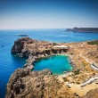 Looking down onto St Paul's Bay at Lindos on the Island of Rhode — Stock Photo #66728951