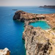 Looking down onto St Paul's Bay at Lindos on the Island of Rhode — Stock Photo #66730283