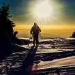 Backcountry skier reaching the summit at sunset — Stock Photo #66748619