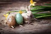Easter decoration with cute lamb and eggs — Stock Photo