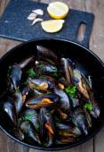 Mussels cooked with white wine sauce — Photo