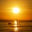 Fishing boats on the Black Lake. With sunset sky, thailand. — Stock Photo #53787827