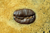 A coffee bean on coffee bubble — Stock Photo