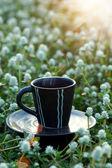 每天早上喝咖啡在花园里. — 图库照片
