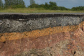 The curb erosion from storms. To indicate the layers of soil and — Stock Photo