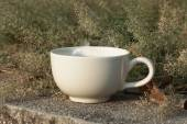 Coffee cup with small flower grass — Stock Photo