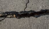 Fissure of the street were destroyed. — Stock Photo