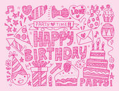 Doodle Birthday party background — Stock Vector