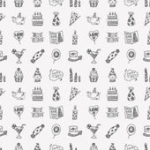 Doodle Birthday party pattern — Stock Vector