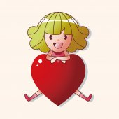 Little kid with heart theme elements — Stockvector