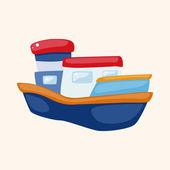 交通船テーマ要素 — ストックベクタ