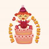 Birthday decorating cake theme elements — 图库矢量图片