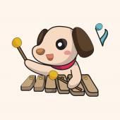 Animal playing instrument cartoon theme elements — Vetor de Stock
