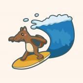 Animal summer cartoon theme elements — Stock Vector