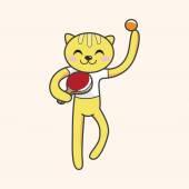 Animal cat doing sports cartoon theme elements — Vector de stock