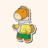 Animal horse winter cartoon theme elements — Stock Vector