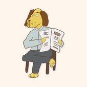 Éléments de thème pour le dessin animé animaux chien — Vecteur