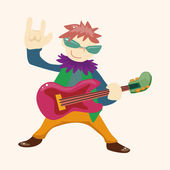 Band member guitar player theme elements — Stock Vector