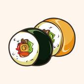 Japanese food sushi theme elements — Stock Vector