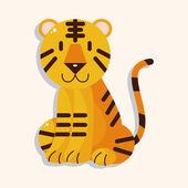 Animal tiger cartoon theme elements — Stock Vector