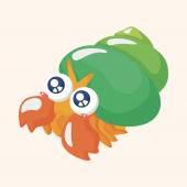 Sea animal hermit crab cartoon theme elements — Stock Vector