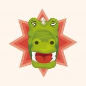 Animal crocodile cartoon theme elements — Stock Vector