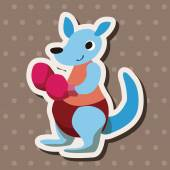 Sport animal kangaroo cartoon elements vector — Stock Vector